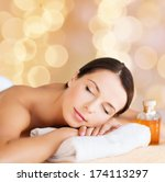 beauty and spa concept   happy... | Shutterstock . vector #174113297