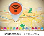 map with pins   vector... | Shutterstock .eps vector #174138917