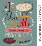 vintage valentine's day poster  | Shutterstock .eps vector #174144377