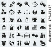 collection of 25 baby icons....
