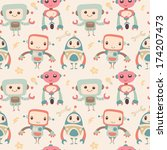 cute robots. seamless pattern.   Shutterstock .eps vector #174207473