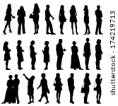 black silhouettes of beautiful...   Shutterstock .eps vector #174219713