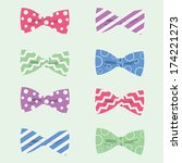 Set of Vector Bowties, Bow Ties Patterns