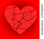 Broken Red Heart On A Red...