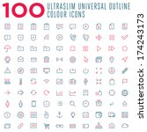 100 thin outline vector colour...