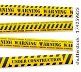 set of vector yellow tapes with ...   Shutterstock .eps vector #174259823