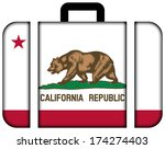 suitcase with california state... | Shutterstock . vector #174274403