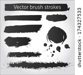 set of black vector grunge ink... | Shutterstock .eps vector #174327533