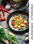 Cooking Shrimps With Fresh Herbs