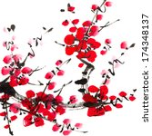 chinese painting of flowers ... | Shutterstock . vector #174348137