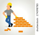 simple cartoon of a builder... | Shutterstock . vector #174398783