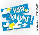 happy summer holidays with sun... | Shutterstock .eps vector #174399497