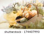 Easter Background With Eggs An...