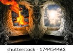 two gates to heaven and hell.... | Shutterstock . vector #174454463