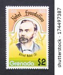 Small photo of GRENADA - CIRCA 1998: a postage stamp printed in Grenada showing an image of Alfred Nobel, circa 1998.