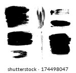 vector set of grunge stains and ... | Shutterstock .eps vector #174498047