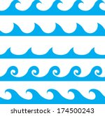 Seamless Vector Blue Wave Line...