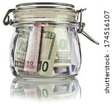 Money Glass Jar Full Of Saving...