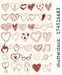 hearts doodles | Shutterstock .eps vector #174516683