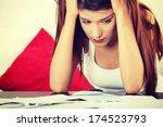 a young beautiful woman... | Shutterstock . vector #174523793