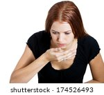 Small photo of Closeup portrait of young unhappy, annoyed, sick woman about to chuck, throw up, retch barf, hurl isolated on white background. Negative emotions, feelings, facial expressions. Excessive drinking