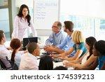 businesswoman addressing... | Shutterstock . vector #174539213