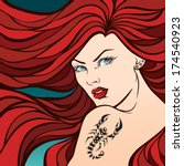 the girl with red hair and a... | Shutterstock .eps vector #174540923