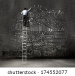 rear view of businessman...   Shutterstock . vector #174552077