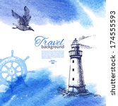 travel vintage background. sea... | Shutterstock .eps vector #174555593