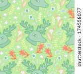 deer head and flowers seamless...   Shutterstock .eps vector #174558077