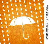 white umbrella and rain drops... | Shutterstock . vector #174559067