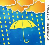 clouds with yellow umbrella and ... | Shutterstock . vector #174559073