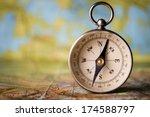 magnetic compass standing... | Shutterstock . vector #174588797