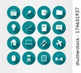 vector set of universal icons | Shutterstock .eps vector #174631937