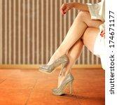 legs of woman in hotel  | Shutterstock . vector #174671177