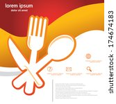 spoon fork knife  food  template | Shutterstock .eps vector #174674183