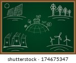 power station energy doodles on ... | Shutterstock .eps vector #174675347