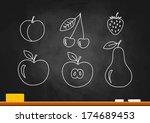 fruit drawing on blackboard   Shutterstock .eps vector #174689453
