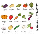 signed vegetables drawings icon ... | Shutterstock .eps vector #174689777