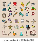 35 colorful doodle medical... | Shutterstock .eps vector #174694307