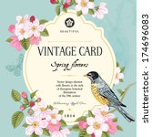 Vintage Vector Card Spring....