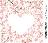 romantic frame from cherry... | Shutterstock .eps vector #174712817