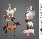 Set Of Animals Living On The...
