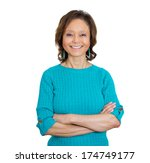 Small photo of Closeup portrait of happy smiling amiable mirthful successful pretty senior mature woman in aqua sweater with arms crossed, isolated on white background. Positive emotion facial expression feelings.