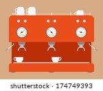 coffee machine flat design | Shutterstock .eps vector #174749393