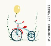 children's tricycle drawing.... | Shutterstock .eps vector #174756893