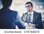 image of young businessman with ... | Shutterstock . vector #174760673