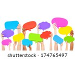 hands holding multi colored... | Shutterstock . vector #174765497