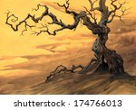 Background With Old Crooked Tree