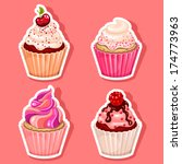 vector cupcake icon stickers | Shutterstock .eps vector #174773963